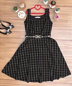Vestido Midi Grid Black