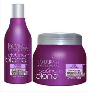 Forever Liss Kit Platinum Blond Btox Matizador - Shamp 300ml + Masc 250g