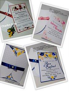 Convite Floral 20 uni (vários modelos)