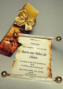 Convite Pergaminho com caixa