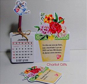 Calendário de Mesa com lápis e sementes de flores
