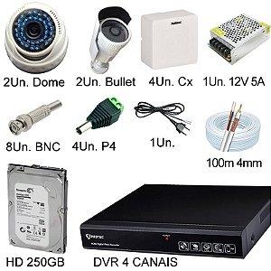 Kit Cftv HD 720P Completo com 4 Câmeras