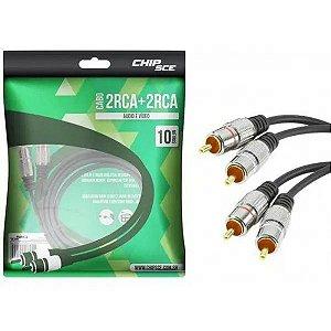 Cabo Rca Para Áudio (2+2) Plug Metal, PIX - 10 Metros