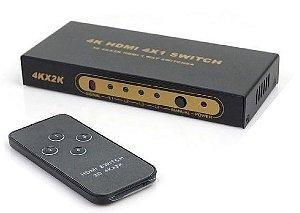 Switch HDMI 4K com controle 4 Entrada 1 Saida - 4x1