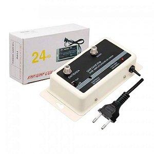 Amplificador De sinal Tv Digital UHF VHF e FM 24DB