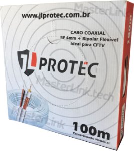 Cabo Coaxial Cftv 4mm Bipolar Externo 80% de malha JL Protec - 100 Metros
