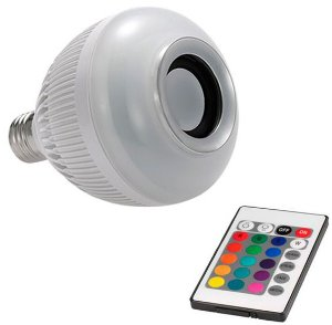 Lâmpada Led RGB Com Caixa de Som Bluetooth e Controle Remoto