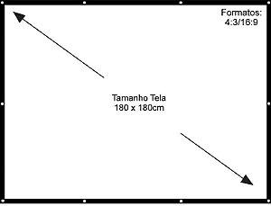 Tecido Para Tela de Projeção Com Ilhós - 100 polegadas