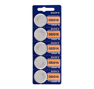 Bateria Botão Cr 2016 Sony Lithium 3v - 5 Unidades