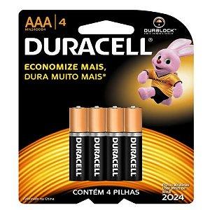 Pilha Palito Duracell AAA Alcalina Durablock - 4 Pilhas