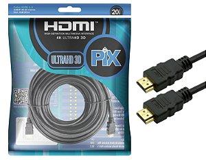 Cabo Hdmi 1.4 Pix 20 Metros 19 Pinos 4k Polibag 018-2015