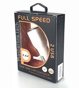 Carregador Usb Veicular Duplo 2.4A GLF-24