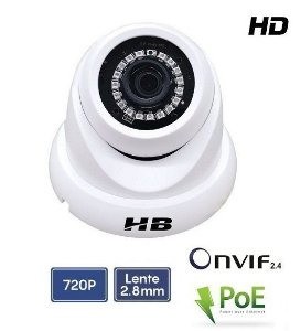 Câmera Dome IP Onvif 2.4 Poe 1.0mp 2.8mm IP66 HB-905 HB Tech