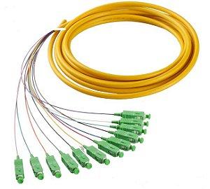 Pigtail De Fibra Óptica 12 Cores Em Feixe Sc/Apc - Verde