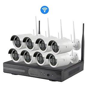 Kit Nvr 8 Câmeras Ip Wireless 1.3mp 960p Dvr Sem Fio