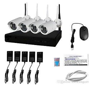 Kit Nvr 4 Câmeras Ip Wireless 1.3mp 960p Dvr Sem Fio