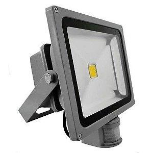 Refletor Led 30w Branco Frio Com Sensor de Movimento e Fotocélula