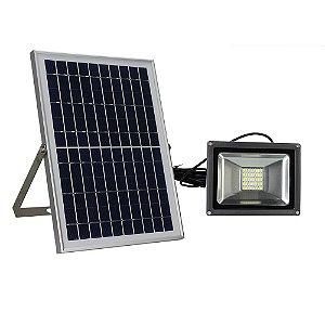 Refletor Led 20w Branco Frio, Com Painel Solar - Completo