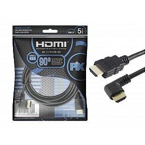 Cabo Hdmi 2.0 Com 5 Metros 4K Plug 90 Graus - PIX 018-3325