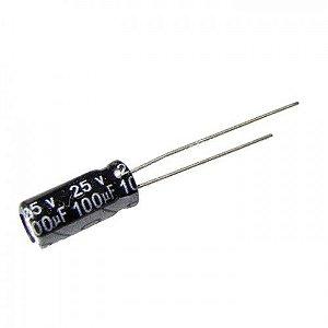Capacitor Eletrolítico 100uf 25V 105 Graus - 100x25-105