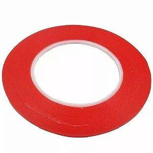 Fita Adesiva Dupla Face Vermelha - 3mm