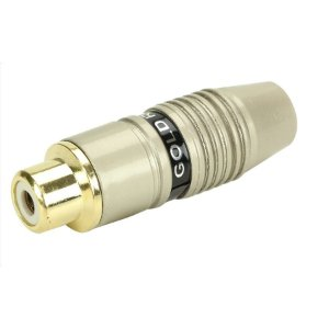 Conector Rca Fêmea 6mm Estriado Gold Profissional - Preto