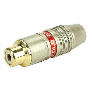 Conector Rca Fêmea 6mm Estriado Gold Profissional - Vermelho