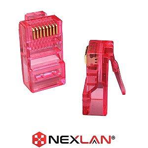 Conector RJ45 Vermelho CAT5E Premium 50µ De Ouro, Nexlan - 1 Unidade