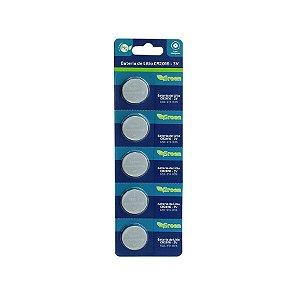 Pilha Bateria Moeda 3v Cr2016 Cartela com 5 Unidades - Green