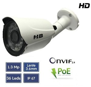 CÂMERA IP HD 1.3MP 960P BULLET 1/3 3.6MM 35M POE ONVIF 2.4 | HB TECH HB902