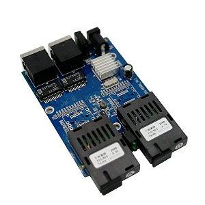 Placa Switch Rede Metro Ethernet Gigabit 2 Portas RJ45 + 2 SC-APC (A+B) Monomodo 20km