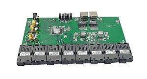 Placa Switch Rede Metro Gigabit 2 Portas RJ45 + 8 SC (4A+4B) Monomodo 20km | NL-RM04G