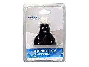 Placa De Som Usb 7.1 Canais Virtual 4 Portas - Exbom Usom-20