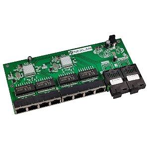 Switch Placa Rede Metro Gigabit 3km 12v - Nexlan RM-2SC8GE