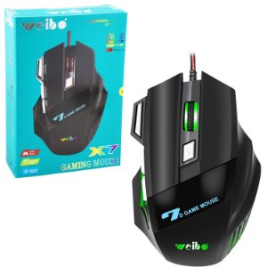 Mouse Óptico Gamer Led RGB 7 Botões 3200Dpi Usb - Weibo X7