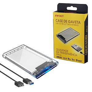 Case Gaveta Transparente Para HD 2.5 Sata Usb 3.0 - Infokit