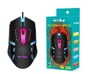Mouse Óptico Gamer Led RGB 3200Dpi Usb - Weibo M-39