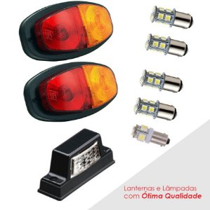 KIT Lanternas LED para Carretinha Par e lanterna placa