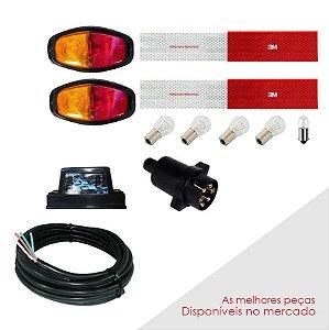 Kit Instalação Elétrica Carretinha Lanternas Fios 7 Mt Cabo