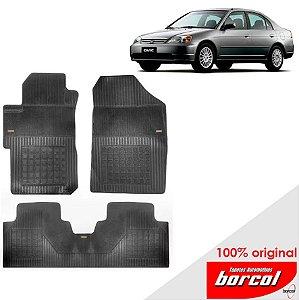 Tapete Borracha Civic 01-06 Original Borcol 3 peças
