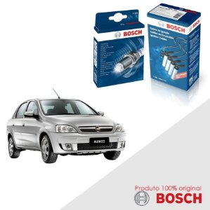 Kit Jogo Cabo+Velas Bosch Corsa 1.8 8v SOHC MPFI Gas 02-12