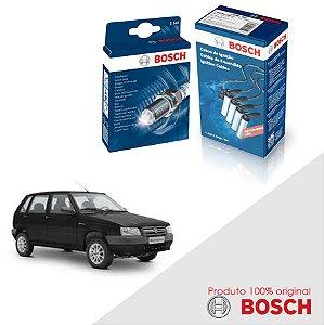 Kit Jogo Cabo+Velas Bosch Uno G1 Mille 1.0 8v Fire Gas 01-03
