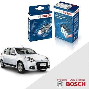 Kit Jogo Cabo+Velas Orig Bosch Sandero 1.6 8v K7M Flex 07-14