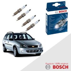 Kit Jogo Velas Bosch Corsa Wagon 1.6 16v DOHC SFI Gas 97-01