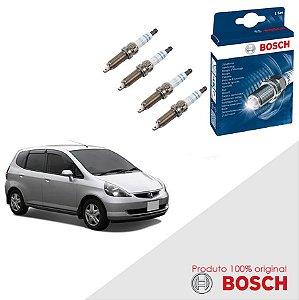 Jogo Velas Original Bosch Fit 1.5 16v VTEC DOHC Gas 05-08