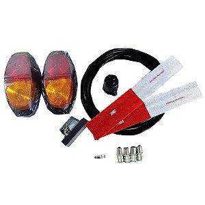 Kit Instalação Elétrica LED Carretinha Lanternas 6 Mt 7 via