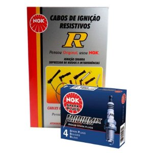 Kit Cabo Vela Iridium NGK Saveiro G5 G6 1.6 8v G5 09-16 Flex