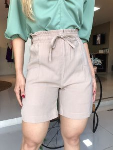 Shorts com elástico na cintura - Nude