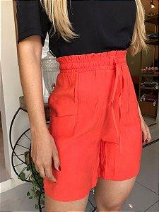 Shorts com elástico na cintura - Laranja