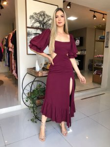 Vestido  com Fenda- Vinho